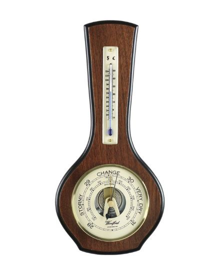 Veneered Barometer with Thermometer